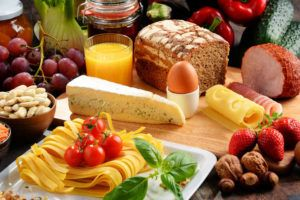organic food, meat, vegetables, pasta, egg