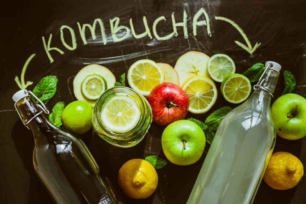 homemade kombucha with fruits